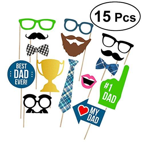 BESTOYARD Vatertag Photo Booth Requisiten Best Dad Ever Party Photo Booth Props Kit Vater Geburtstag Foto Shooting Requisiten 15 Teile/satz