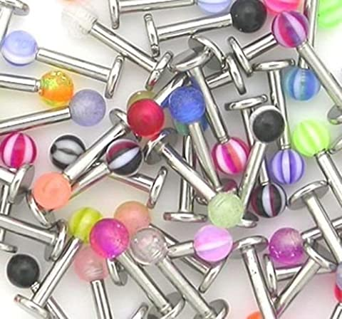 20 x Stainless Steel Ball Top Lip Studs Tragus Ear Rings Monroe Bars Labret Studs Body Piercing Jewellery