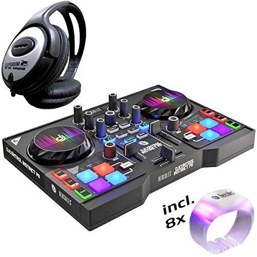 Hercules DJControl Instinct P8 DJ-Controller Party Pack + KEEPDRUM Kopfhörer