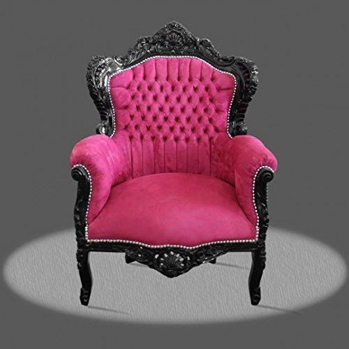 LouisXV Barock Sessel Armlehner Vintage Antik Stil rot Rokoko schwarz pink antik Stil Massivholz....