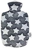 Larovita Wärmflasche mit Bezug waschbar flauschig 1,8 L Hugo Frosch TÜV Süd geprüft Baby Kinder Bettflasche geruchsfrei (Sterne 3D)