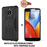 Moto E4 Plus Original COMBO OFFER Goelectro Kickstand Back Cover + Full Coverage 2.5D Curved Tempered Glass Screen Protector (Black-Transparent)