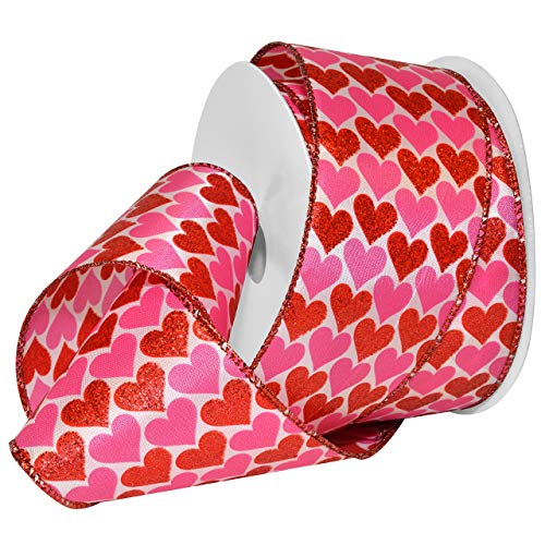 Morex Ribbon 7107 Heartbeat Band, Polyester, rot/weiß, 2.5 inches by 25 Yards