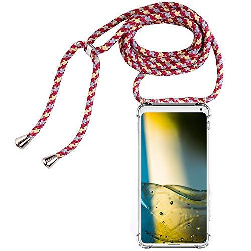 CLM-Tech Carcasa con Cuerda para Colgar Compatible con Xiaomi Mi Mix 2S - Funda Silicona Transparente con Cordon para Llevar en el Cuello, Rojo Amarillo Gris