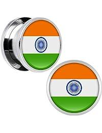 Cuerpo Caramelo Acero Inoxidable Bandera del India Dilatador Ajuste Rosca Par 9/16