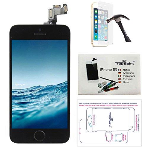 trop saint® Display Schwarz für iPhone 5S Bildschirm Reparaturset Kompatibel iPhone mit Magnetische Schraubenkarte, Werkzeug, Anleitung und Panzerglassfolie
