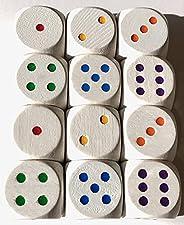 Regenbogen Würfel aus Holz: Augen-Würfel mit verschiedenfarbigen Augen, Standardgröße für Brettspiele (16 mm),