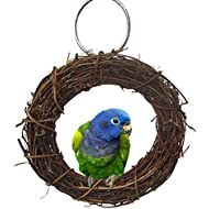 Natural Rattan Hoop Chew Toy for Bird Parrot African Grey Budgie Cockatoo Parakeet Cockatiels Conure Lovebird Cage Perch