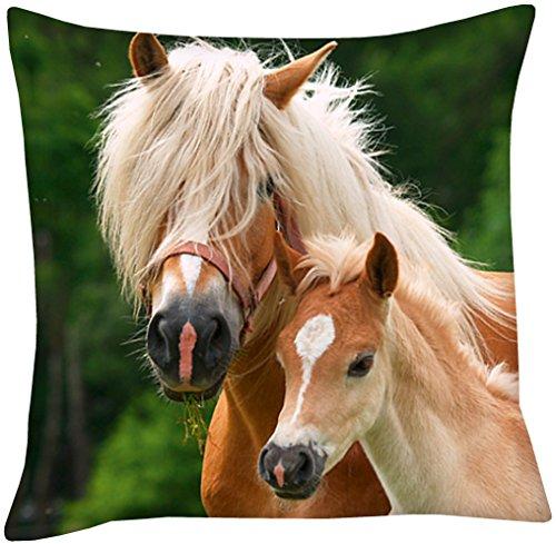 Pferde Foto-Kissen Stute und Fohlen, 40x40cm