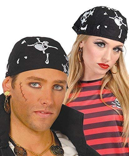 Fancy Me Herren Damen Schwarz Schädel & Gekreuzte Knochen Piraten Kopftuch Kostüm Kleid Outfit Hut Kopf Schal Zubehör (Knochen Kostüm Gekreuzte)