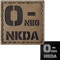 Coyote Brown Tan Infrared IR ONEG NKDA O- Blood Type Arid 2x2 Tactical Morale Touch Fastener Patch