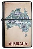 LEotiE SINCE 2004 Feuerzeug Schwarz Benzinfeuerzeug Sturmfeuerzeug Metallfeuerzeug Australien Landkarte