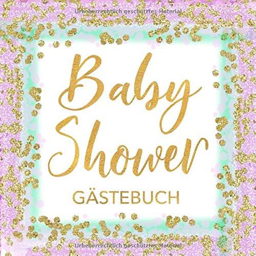 Baby Shower Gästebuch: Babyparty Gästebuch für Mädchen -  Lavendel, Mintgrün und Gold - Buch für Baby Dusche / Shower - 112 Einträge für Gäste mit ... für Baby - Geschenkeliste - Quadratische Form - Lavendel Kaninchen