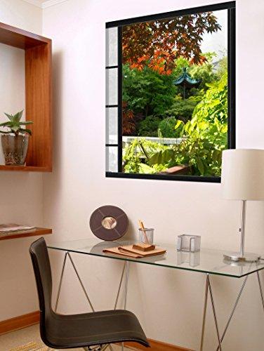 Plage 140410 Wandaufkleber Trompe L'ceil Fenster Effekt, Akita Japanischer Garten, 60 x 75 cm, Besteht aus selbstklebenden Textilien