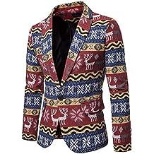 50955eff4139 Luckycat Bedruckter Anzug für Herren gekerbte Revers Slim Fit stilvolle  Blazer Coat Jacket Winterjacke Steppjacke Daunenjacke