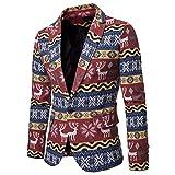Luckycat Bedruckter Anzug für Herren gekerbte Revers Slim Fit stilvolle Blazer Coat Jacket Winterjacke Steppjacke Daunenjacke Parka Mäntel Jacken