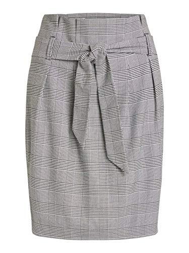 Object NOS Damen Objlisa Abella Mini Skirt Noos Rock, Beige (Gardenia Checks: Black), Herstellergröße: 36 -