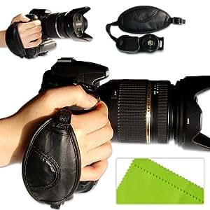 first2savvv Sacoche en cuir pour appareil photo numérique SLR Sangle grip pour Canon EOS 1100D EOS 500D, EOS 550D, EOS 600D, EOS 60D, EOS 7D, EOS 5D Mark II, EOS - 1D X, EOS - 1D Mark IV EOS PowerShot SX40 HS/1V EOS 60Da EOS 5D Mark II, EOS 650D, EOS 400D et EOS 450D/EOS 300D PowerShot G1 X, EOS EOS - 1D C EOS 6D PowerShot SX50 HS PowerShot SX500 IS/EOS 700D/EOS 100D PowerShot SX510 HS PowerShot SX170 IS avec un chiffon de nettoyage