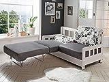 Moebella Schlafsofa Campuso Weiß Grau Blumen-Design Stoff Sofa Couch Massiv Holz Schlafcouch Bettfunktion