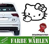 Autoaufkleber Sticker Hello Kitty Böse Süß Auto Decal Katze Cat (Hello Kitty Böse Mittelfinger ca. 8x11cm, Schwarz)