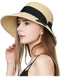 SiggiHat Ladies Summer Sun Hat Women Floppy Panama Straw Beach Hats Foldable Wide Brim Fedora - UPF 50 - Packable & Adjustable