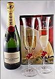 Champagner Moet & Chandon Brut Impèrial (12 %VOL.-0,75 Liter) mit 2 Champagner Gläser L´Amour von Stölzle im Geschenk Karton, kostenloser Versand