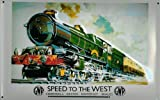 Blechschild Nostalgieschild Speed to the West Cornwall Devon Eisenbahn England Schild