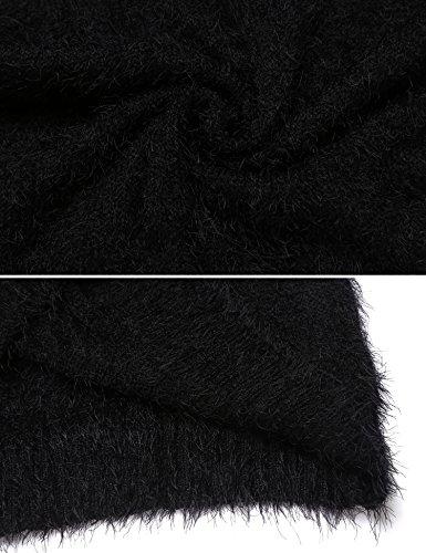 Damen Pullover Lang Winter Strickkleid Langarm Pulloverkleid Stretch Winterkleider Oberteile Dunkelblau