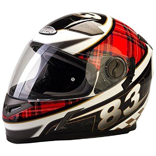 Nuovo Casco del motociclo - VIPER V9 Bandiera Casco Moto Full Face Sharp 4* Touring Casco Integrali con Parasole (XS, Scozia Bandiera)
