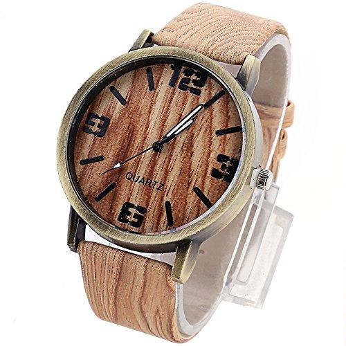 Forepin uomo orologio da polso quarzo watch con di legno del grano cinturino in pelle e quadrante in metallo- marrone