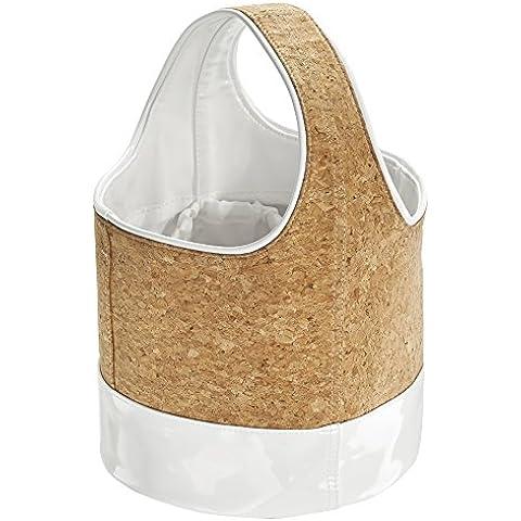 InterDesign Quinn Bolsa de almacenamiento para baño ducha, College de dormitorio, Playa, cuero, corcho/blanco, Juego de 3