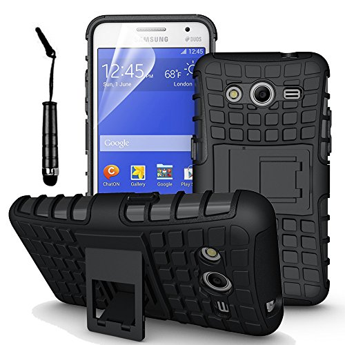 Samsung Galaxy Core 2 G355H - Stylish Heavy Duty Hard Back Armor Shock Proof Case Cover with Back Stand Feature & Free Screen Protector by Accessories Collection