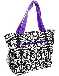 Gen Sh Womens Polyester Tote (Damask - Black & White W/ Purple Trim)