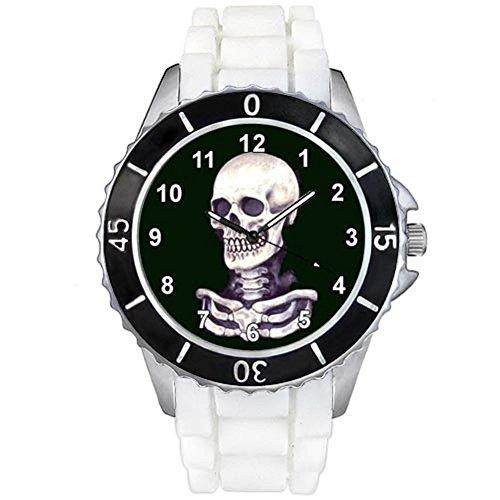 Timest - Skull Totenkopf Motiv Uhr Unisex mit Silikonband in weiss Rund Analog Quarz CSE022w