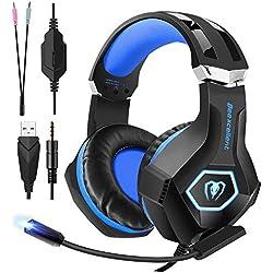 FISHOAKY Auriculares Gaming para PS4, Cascos Gaming Premium Stereo con Micrófono, Cancelación de Rui (Blue)