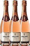 3er Paket Rosé Excellence - Bouvet Ladubay   Crémant brut   französischer Schaumwein aus dem Loire-Tal   3 x 0,75 Liter
