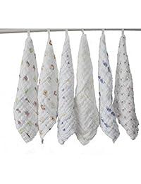 Lucear Mouchoir en coton de bébé (6-ballots) avec crocher, 12 x 12 pouces, tissu réutilisable, meilleur cadeau comme serviette de bain de bébé