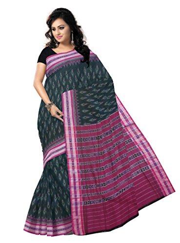 Odisha Saree Store Women,s Black with Magenta color Ikat design Cotton Saree.