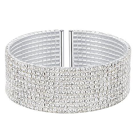 BABEYOND Damen Armband 1-5 Reihen Diamante Armreif Strass Stretch Tennis Armband Clear CZ Kristall Armband Cuff Set Elastische Braut Hochzeit Armband für Braut (10 Row-Silver)