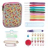 Teamoy Serie de Crochet Kits de Ganchillo Estuche para Crochet Organizador de Agujas Bolsa de Herramientas Juego del Ganchos (incluido accesorios),flor rosado