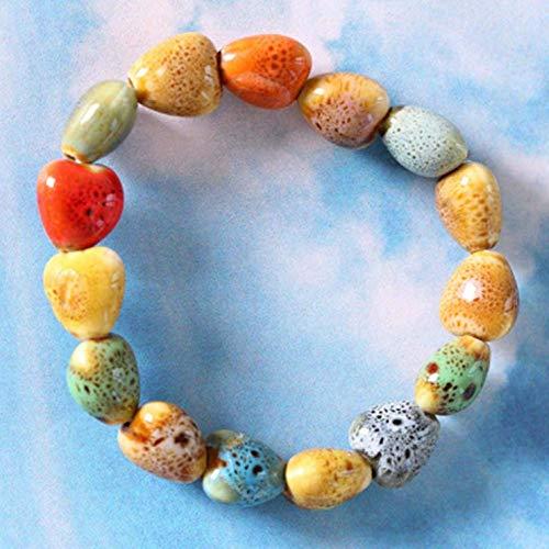 YuzhouGJ Desirable Herzförmige Vintage Perlen Damen Armband Bohème Keramik Stein Anhänger Damen Armreifen Mode Yoga Geschenk in Fein Stil - Kleine Liebe