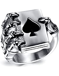Mens Stainless Steel Ring, Vintage, Biker, Silver, Black Ace, Skull Hand KR1940