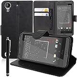 Etui Portefeuille Support Video Livre Rabat Cuir PU pour HTC Desire 530/ Desire 630 + Stylet - Noir