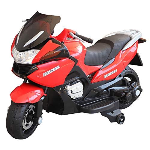 HOMCOM Coche Correpasillos Niños 3-8 años Moto Eléctrica Infantil 3-7 km/h Batería 12V Doble Motor con Luces y Música Ruedas Seguras 120x60x65cm Rojo