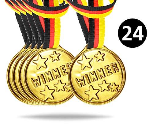 TK Gruppe Timo Klingler 24x Medaillen Mitbringsel Mitgebsel Party Geburtstag Kindergeburtstag Sieger Winner Fußball Fussball giveaways Giveaway für Kinder Jungen und Mädchen (24x Stück)