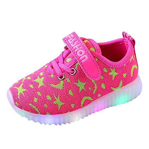 Baby Schuhe Jungen Mädchen Sneaker Breathable LED Schuhe Kinder Schuhe Kleinkind Licht Schuhe Sport Running LED Lenuchtende Schuhe Sneaker Rosa 25 Mxssi
