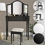 Coiffeuse Table de Maquillage - 80/40/136cm Blanc ou Noir 3 Miroirs et Tabouret - Meuble, Femme, Moderne