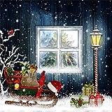 YongFoto 2x2m Foto Hintergrund Weihnachten Geschenke Steckenpferd fallende Schneeflocken Fenster Vintage Holzhaus Fotografie Hintergrund Fotoshooting Portrait Party Kinder Hochzeit Fotostudio