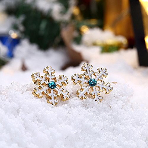Earrings For Women Wedding Accessories Platinum Plated Christmas snowflakes have three colors Christmas snowflakes have three colors