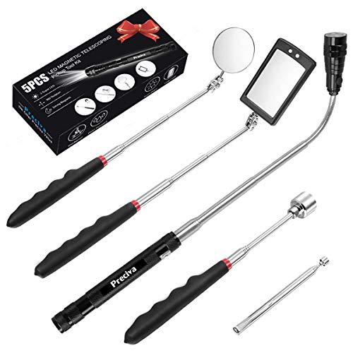 5 PCS Outil de Préhension Magnétique Télescopique pour Ramassage avec LED, Comprenant 15lb/1lb Outil de Ramassage/Rond/Carré Miroir d'Inspection/Poignée Télescopique Pivot 360°, 4 Batteries(Cinq kit)